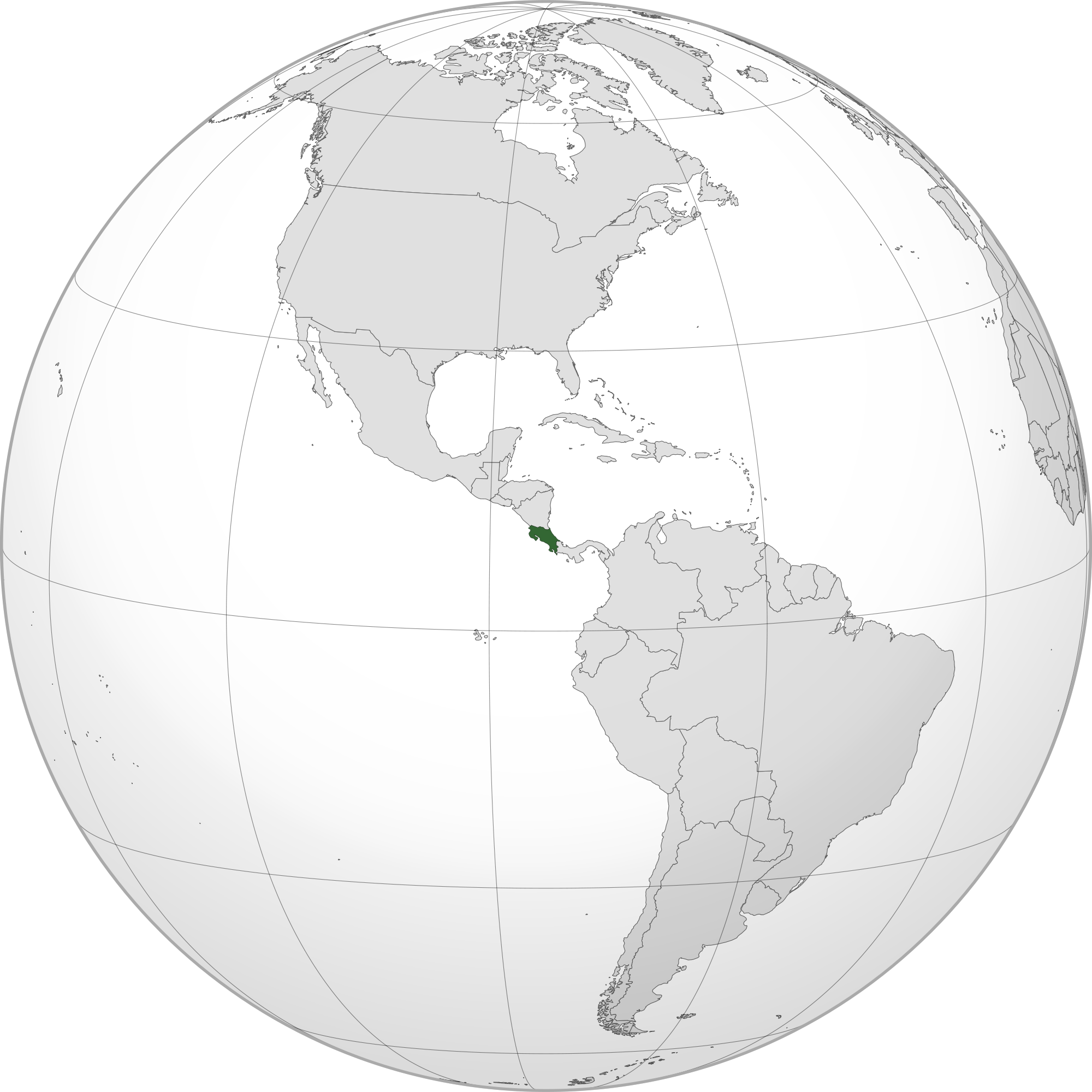Location of the Costa Rica in the World Map