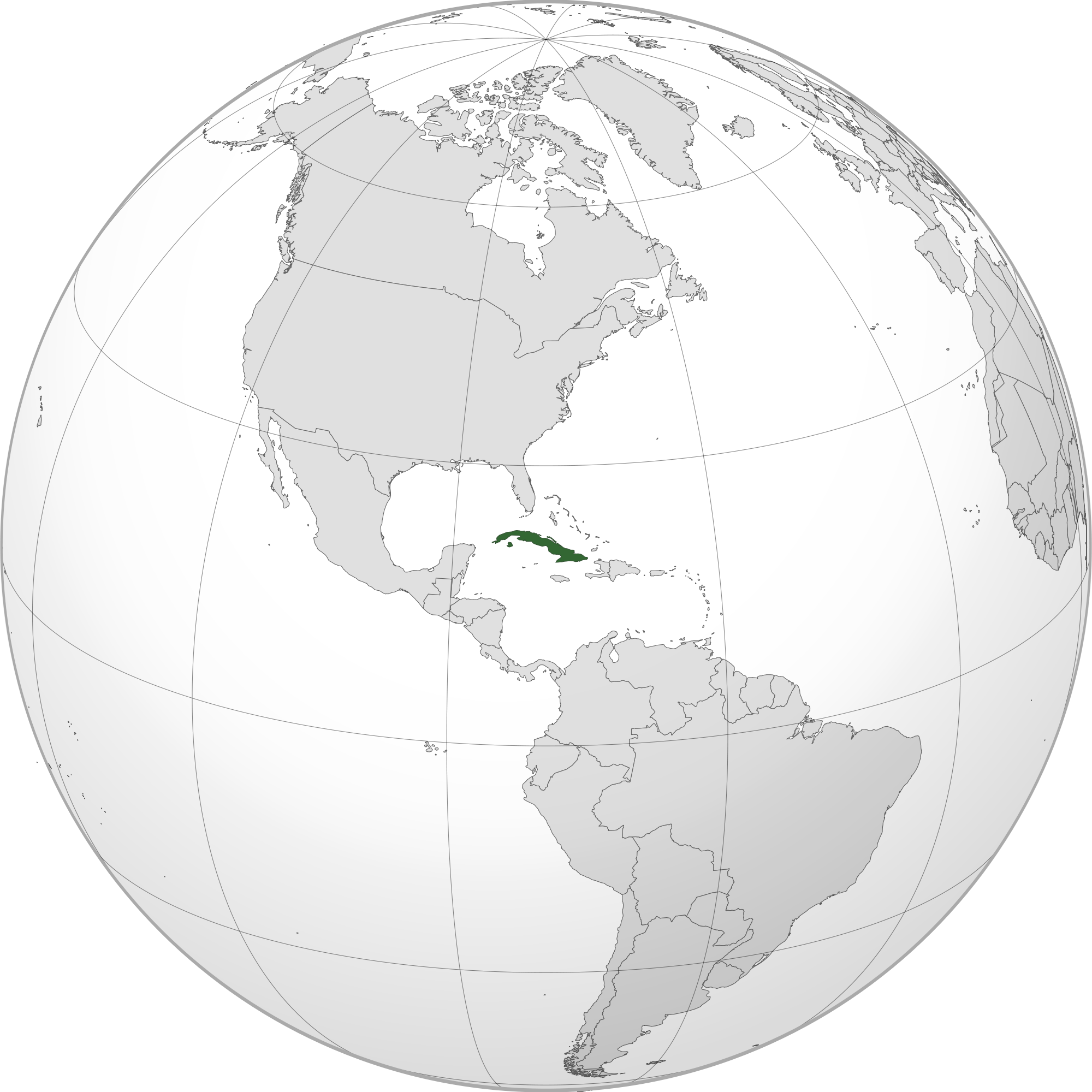 Location of the cuba in the World Map