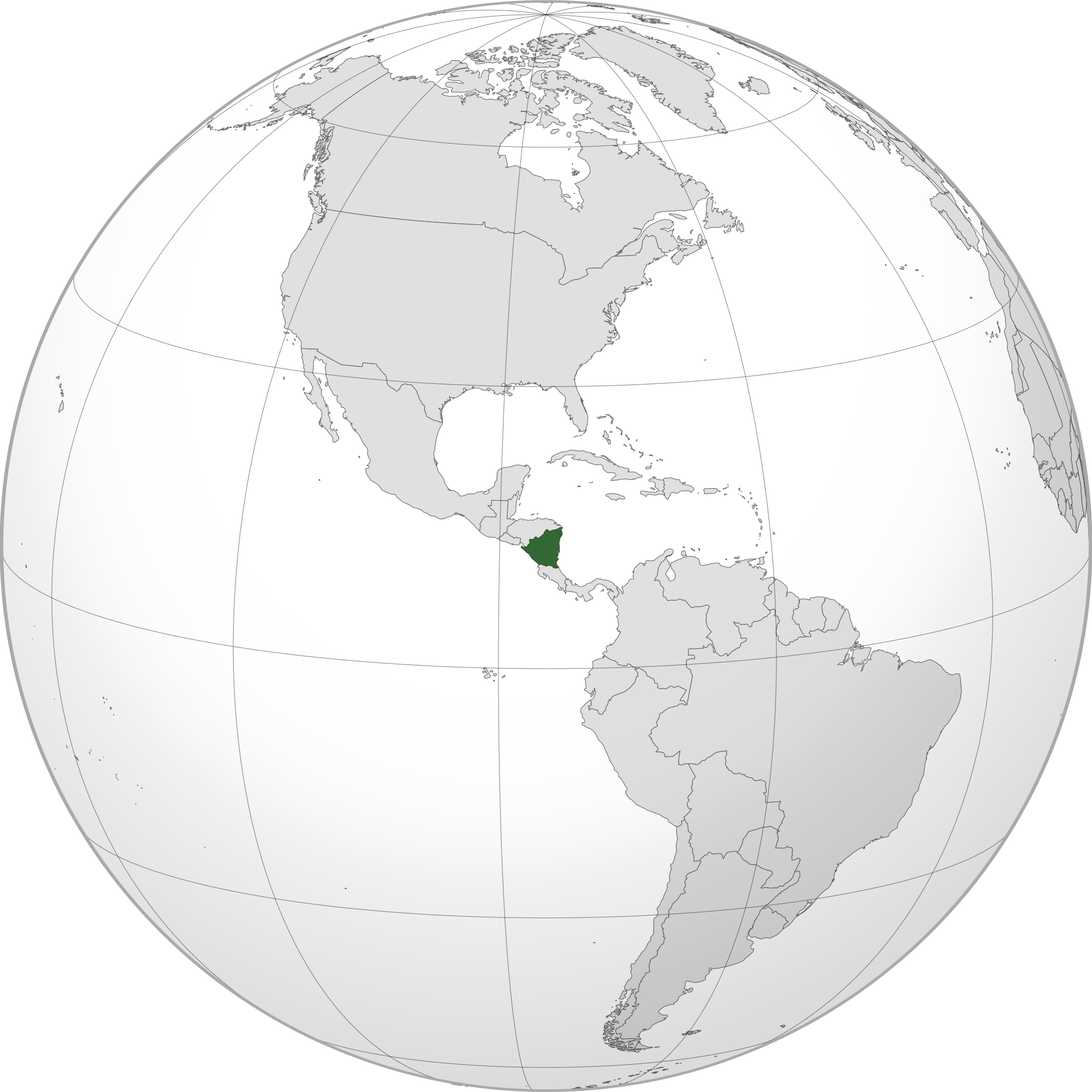 Location of the Nicaragua in the World Map